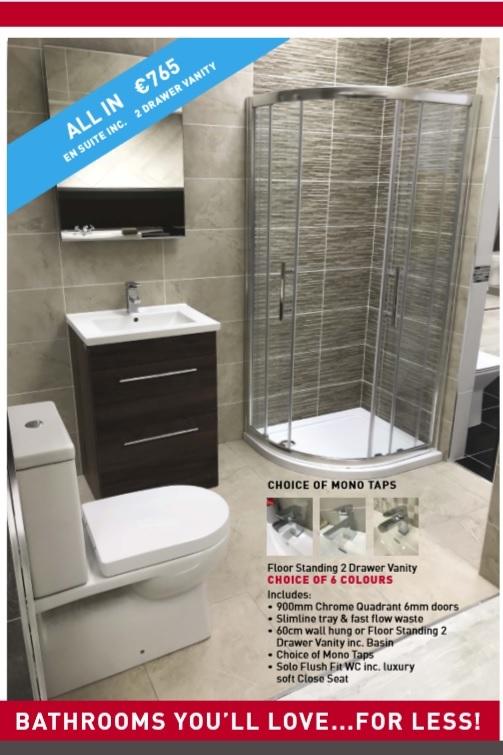 vanity unit and quadrant shower unit