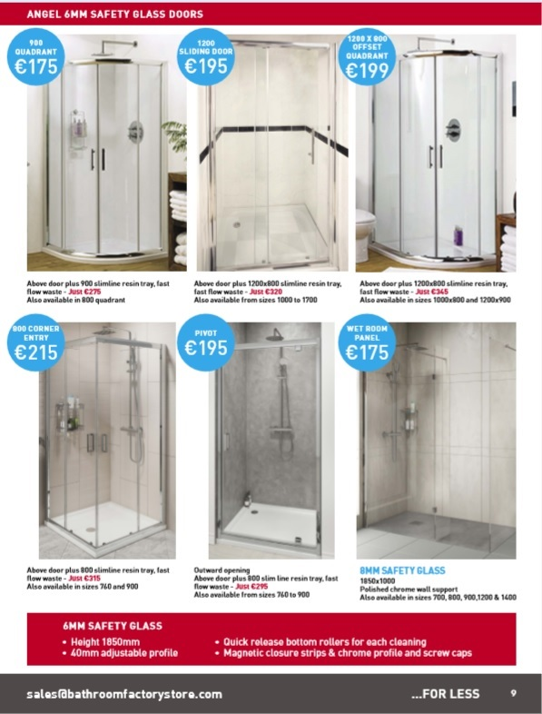 six shower doors with special offers