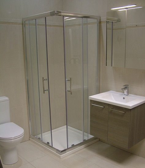 corner entry shower enclosure